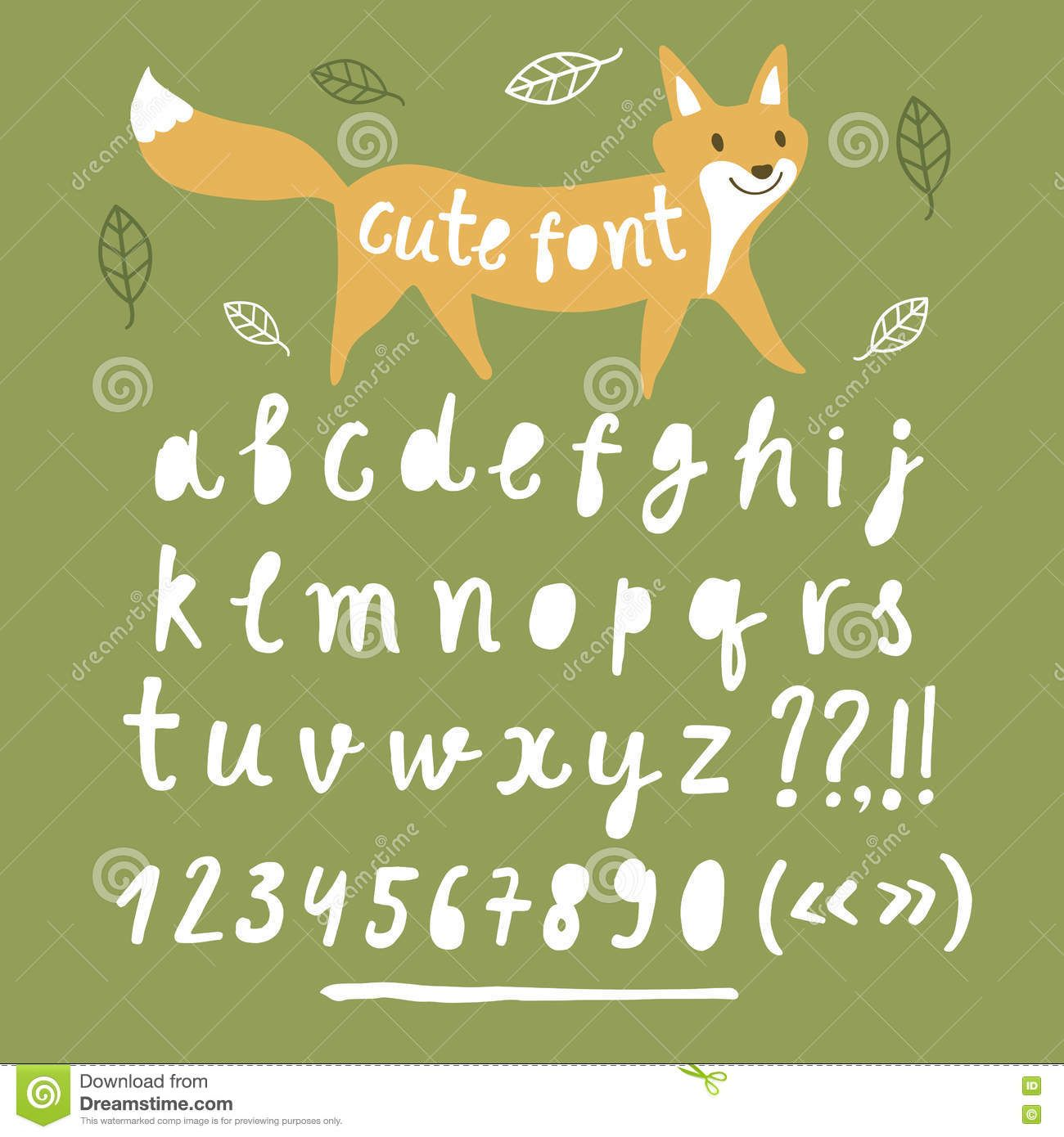 Brush Hand Drawn Vector Font With Cartoon Fox Stock Vector - Image: 72288816