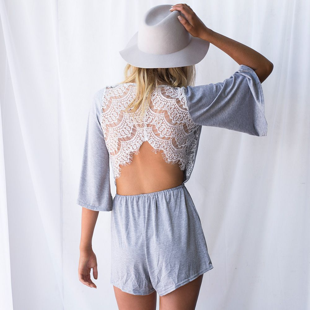 36c538fc6c Grey playsuit with white lace detail on the back. Delicate details is what  makes an outfit perfect.