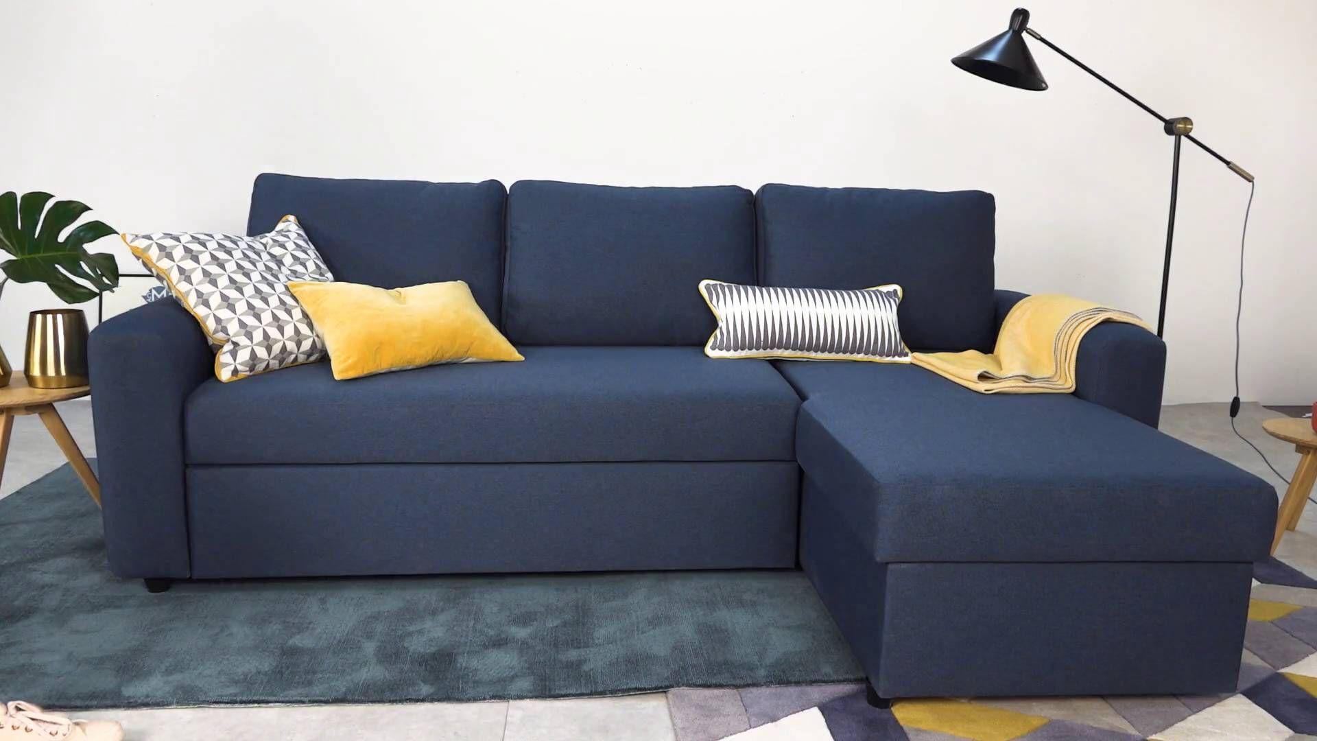 Aidian Corner Storage Sofa Bed, Regal Blue Sofa bed