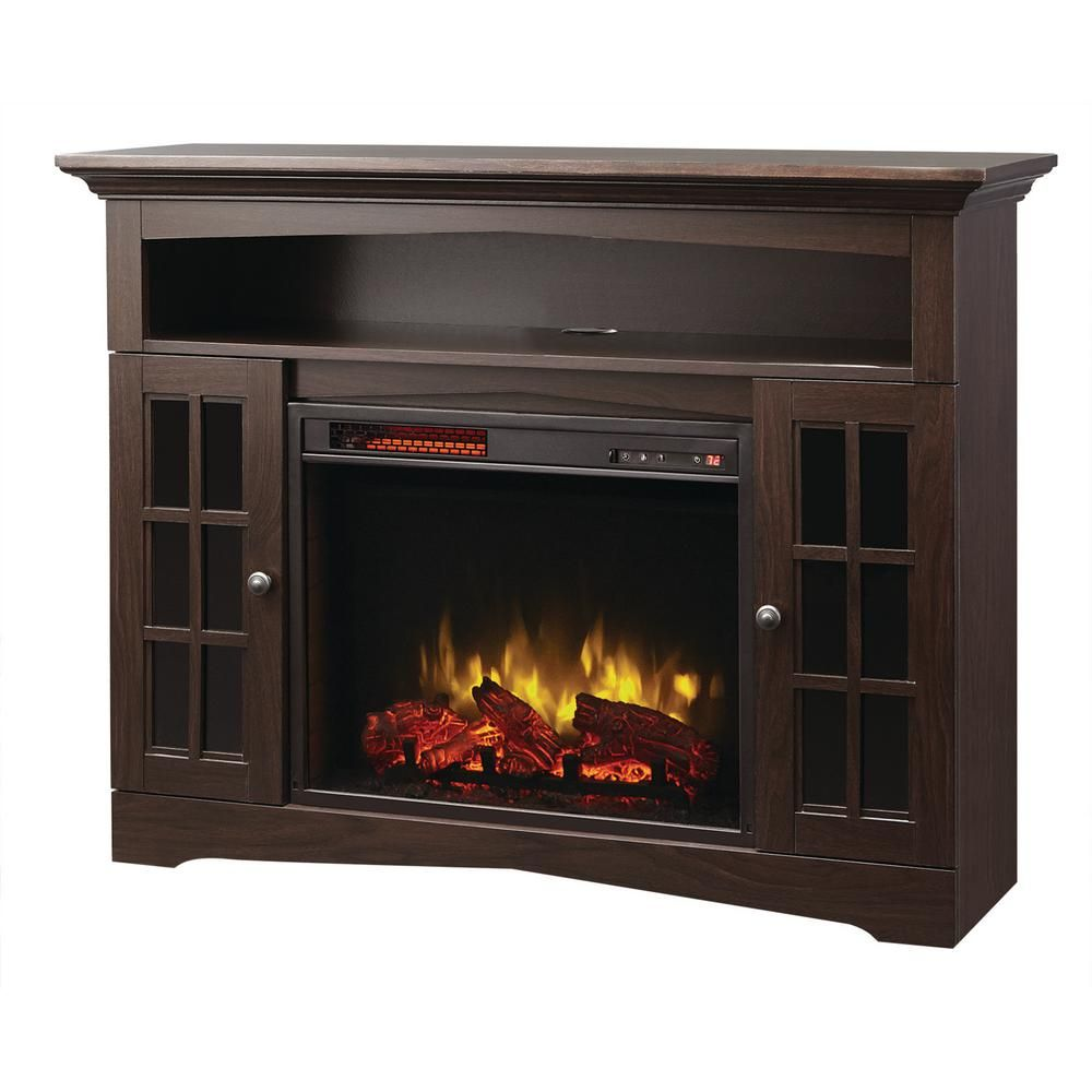 Home Decorators Collection Avondale Grove 48 In Tv Stand Infrared Electric Fireplace In Aged Black 258 102 170 Y Electric Fireplace Electric Fireplace Tv Stand Wall Mount Electric Fireplace