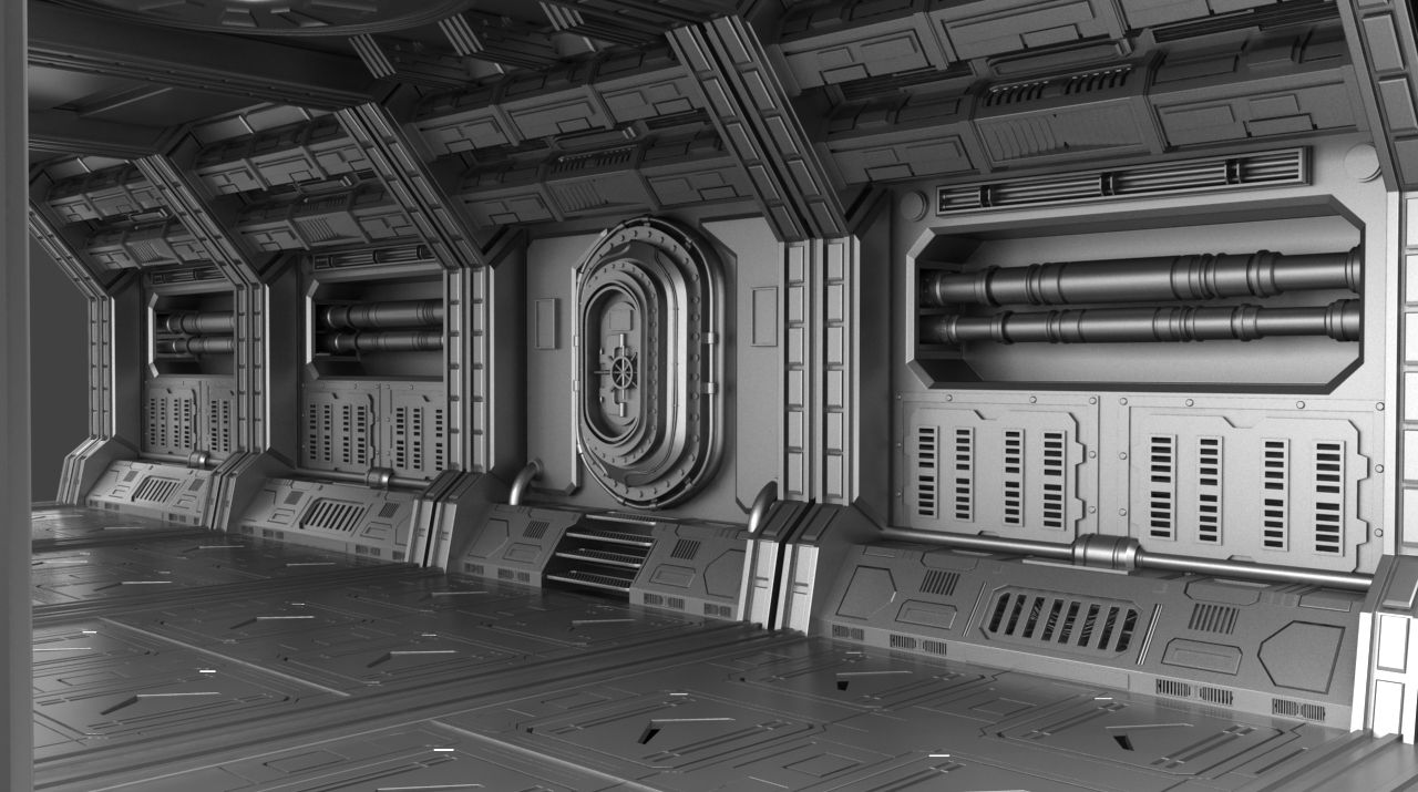 sci fi corridor concept 3d model by metonymic mergule. Black Bedroom Furniture Sets. Home Design Ideas