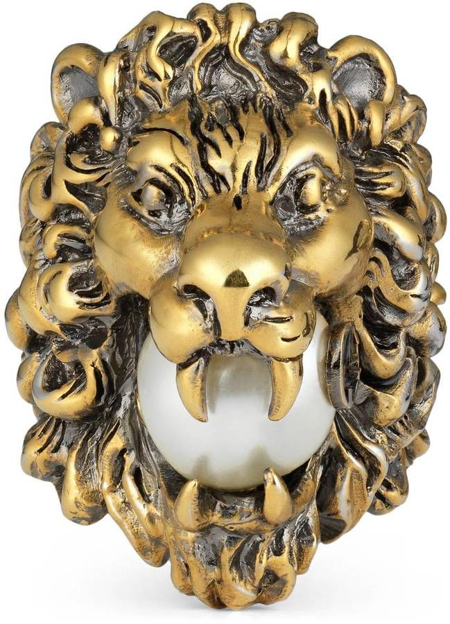 8be872f3c Gucci Lion head ring with glass pearl | Girly | Pearl ring, Sterling ...