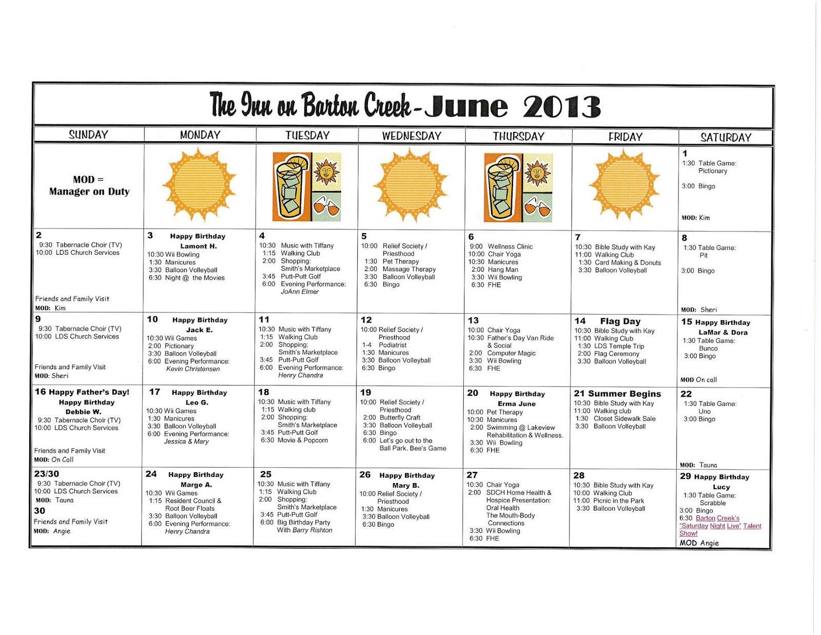 June Activities Calendar