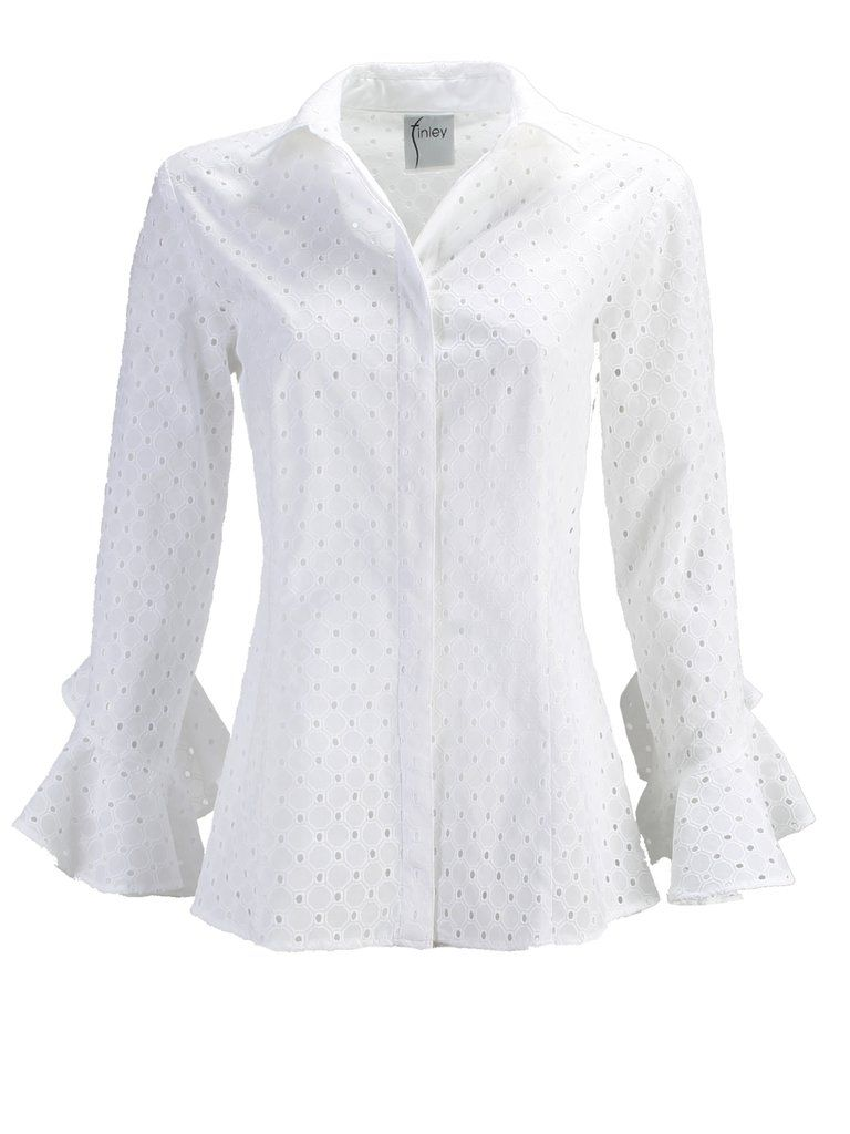 a51bb638 Carmella White Eyelet. Carmella White Eyelet Blouses For Women, Button Downs  ...