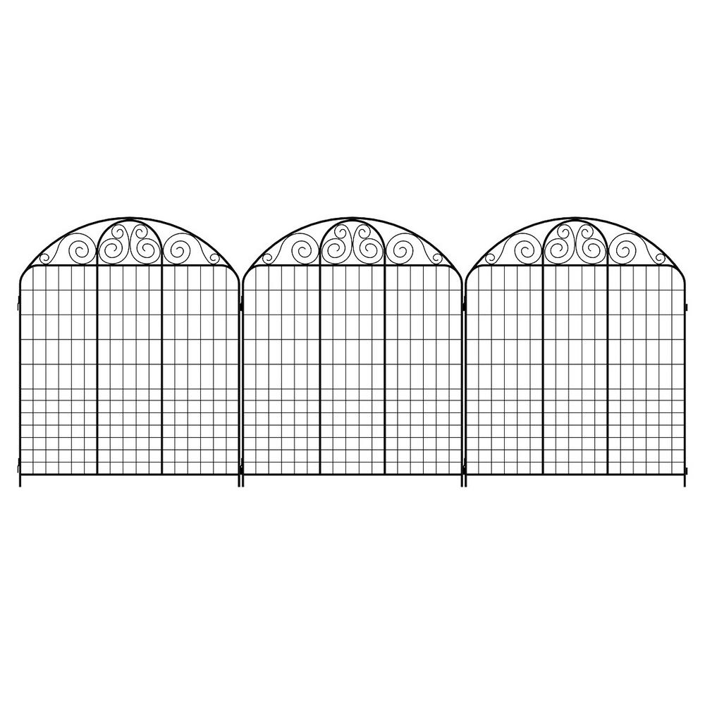 Hampton Bay Rockdale 43 8 In Black Steel Fence Panel 3 Pack 860244 The Home Depot Steel Fence Steel Fence Panels Fence Panels