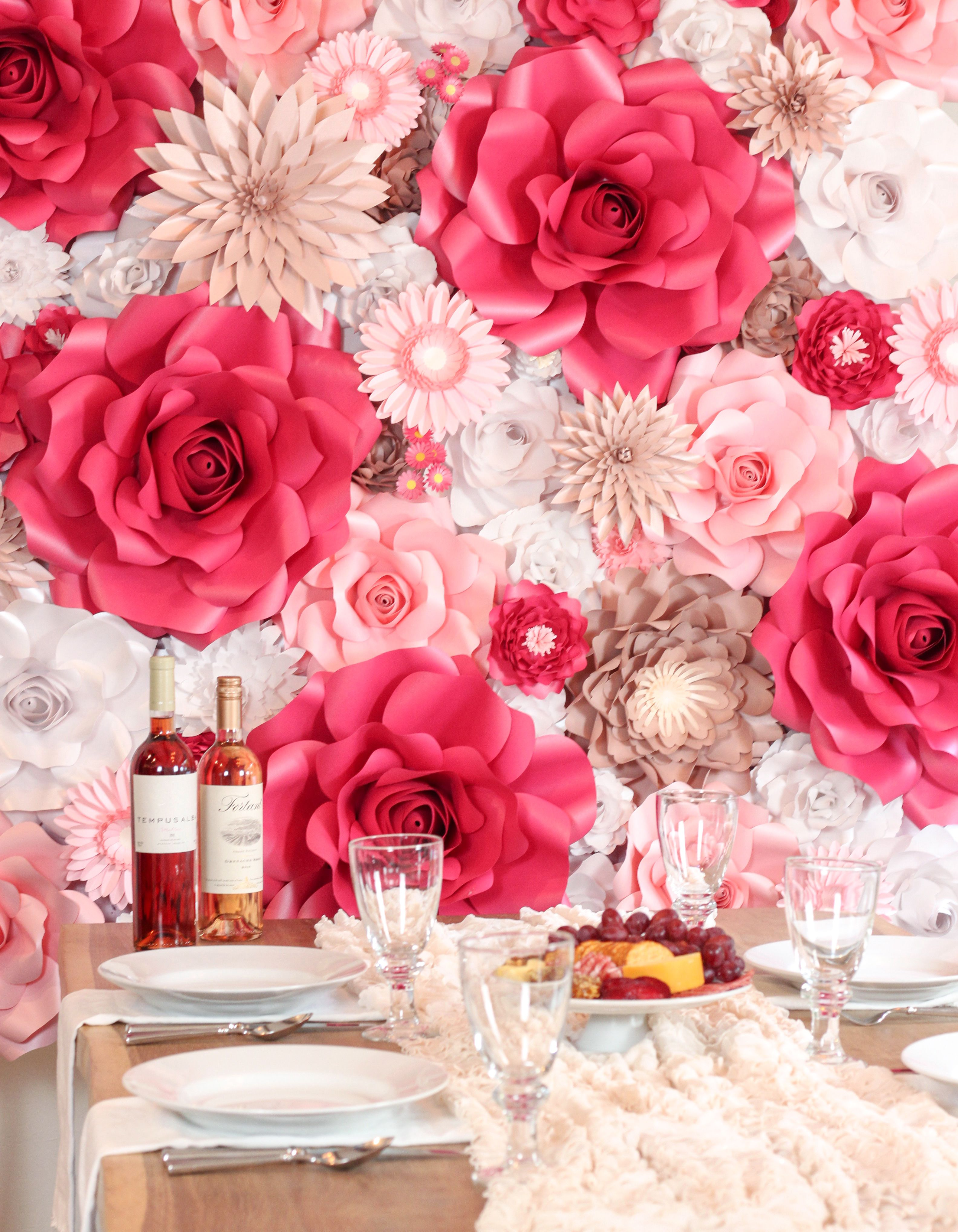 Host A Rose Tasting Party Using Rose Gold Pink And White Paper Flowers Rose All Day Paper Flower White Paper Flowers Paper Flower Backdrop Flower Backdrop