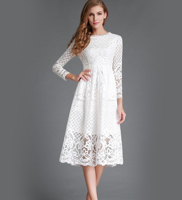 Minetom Damen Kleid Lange Armel Sommerkleid Spitze Elegant Abendkleid Partykleid Maxi Kleid Weiss De 34 Partykleid Langarmelige Kleider Abendkleid