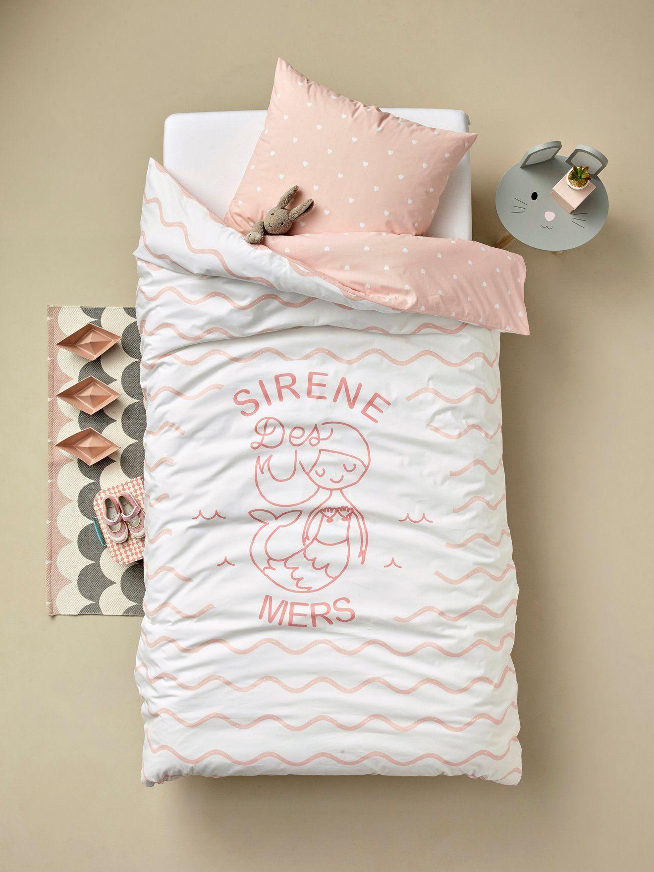 3c4e1710338c3 Un ensemble housse de couette + taie d oreiller imprimé d une belle sirène