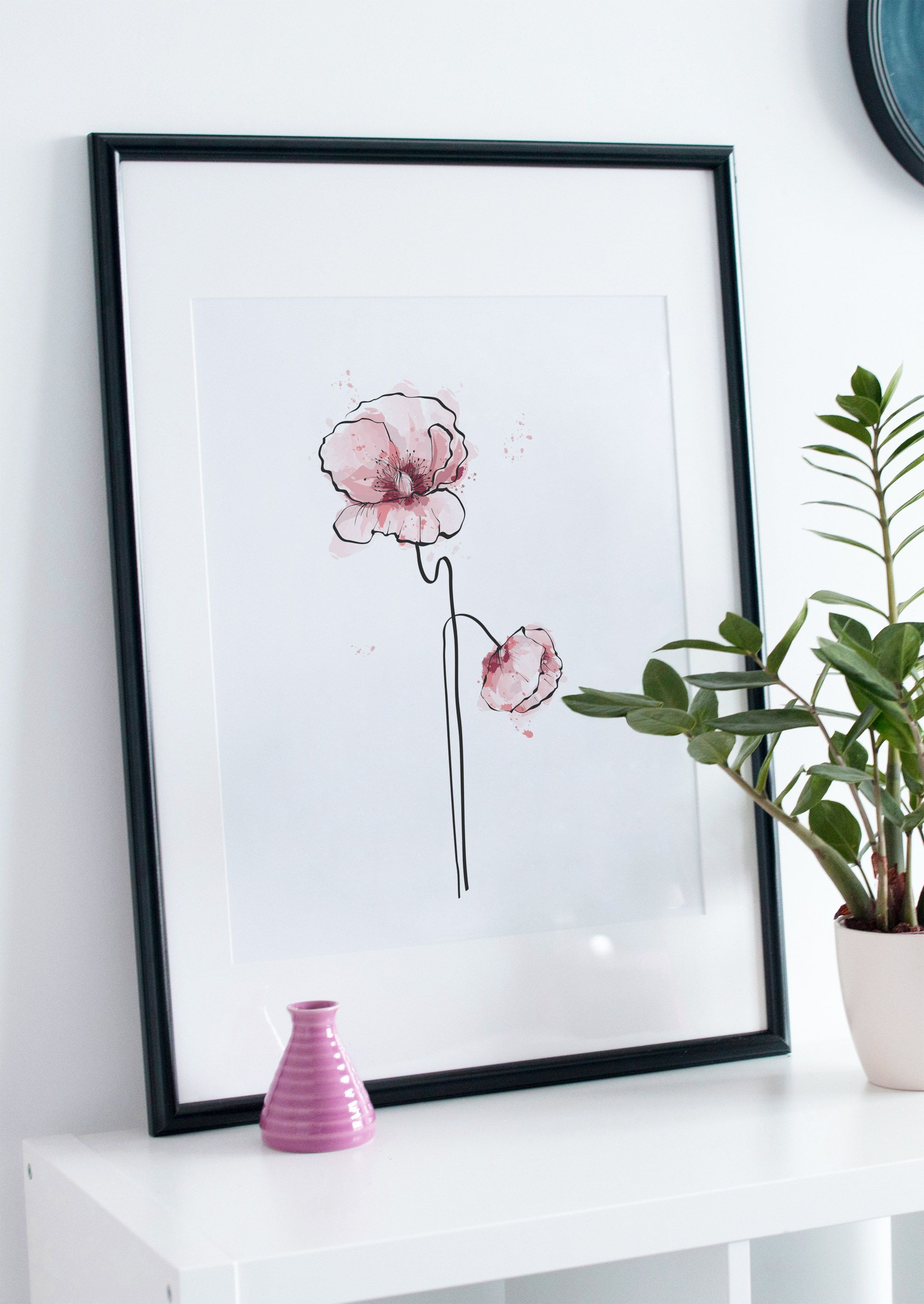 Poppy Flowers Modern Scandinavian Print Printable Wall Art Decor