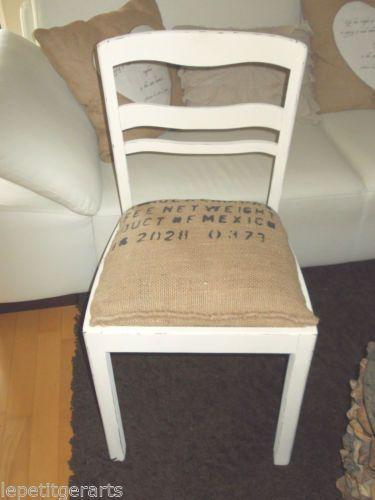 raum ddorf stuhl vintage kreidefarbe shabby chic antikweiss kaffeesack m belst cke. Black Bedroom Furniture Sets. Home Design Ideas