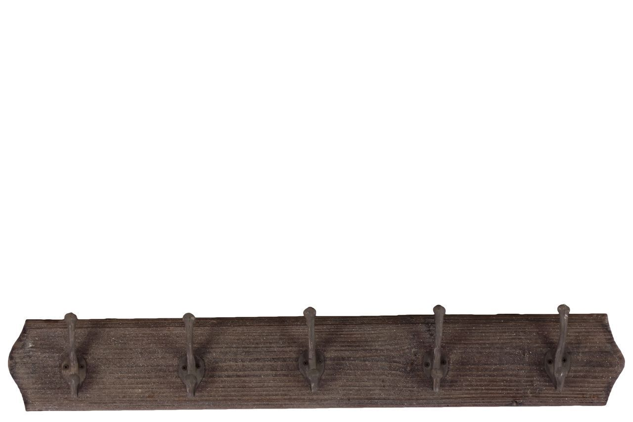 Wood wall hanger with hooks stained wood finish products