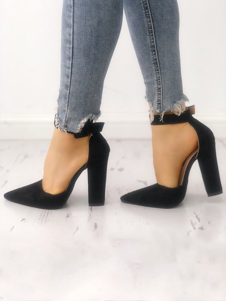 4270a655556c8e Black Suede Pointed Toe Buckled Chunky Heels. Block heel