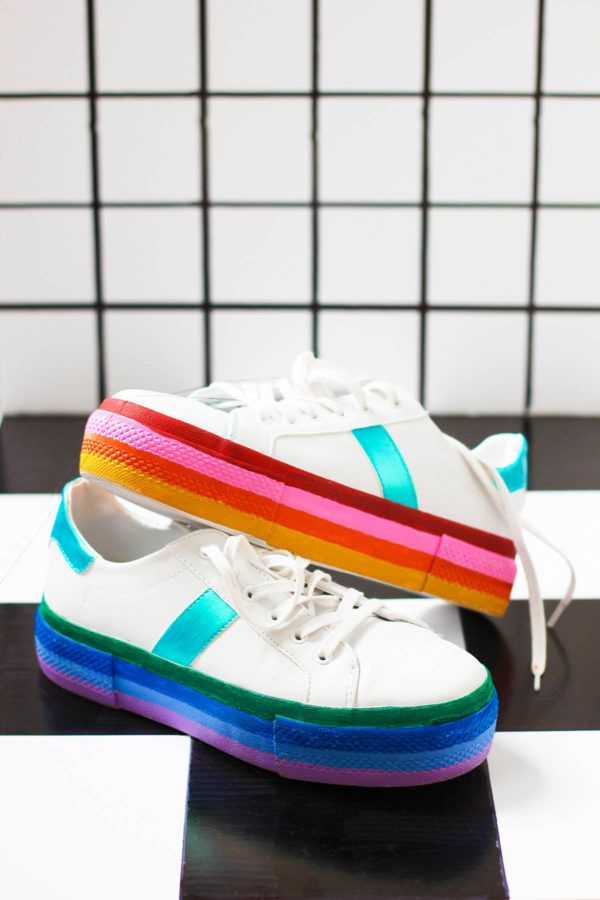 Diy Rainbow Platform Sneakers Studio Diy Diy Sneakers Diy Shoes Womens Fashion Diy