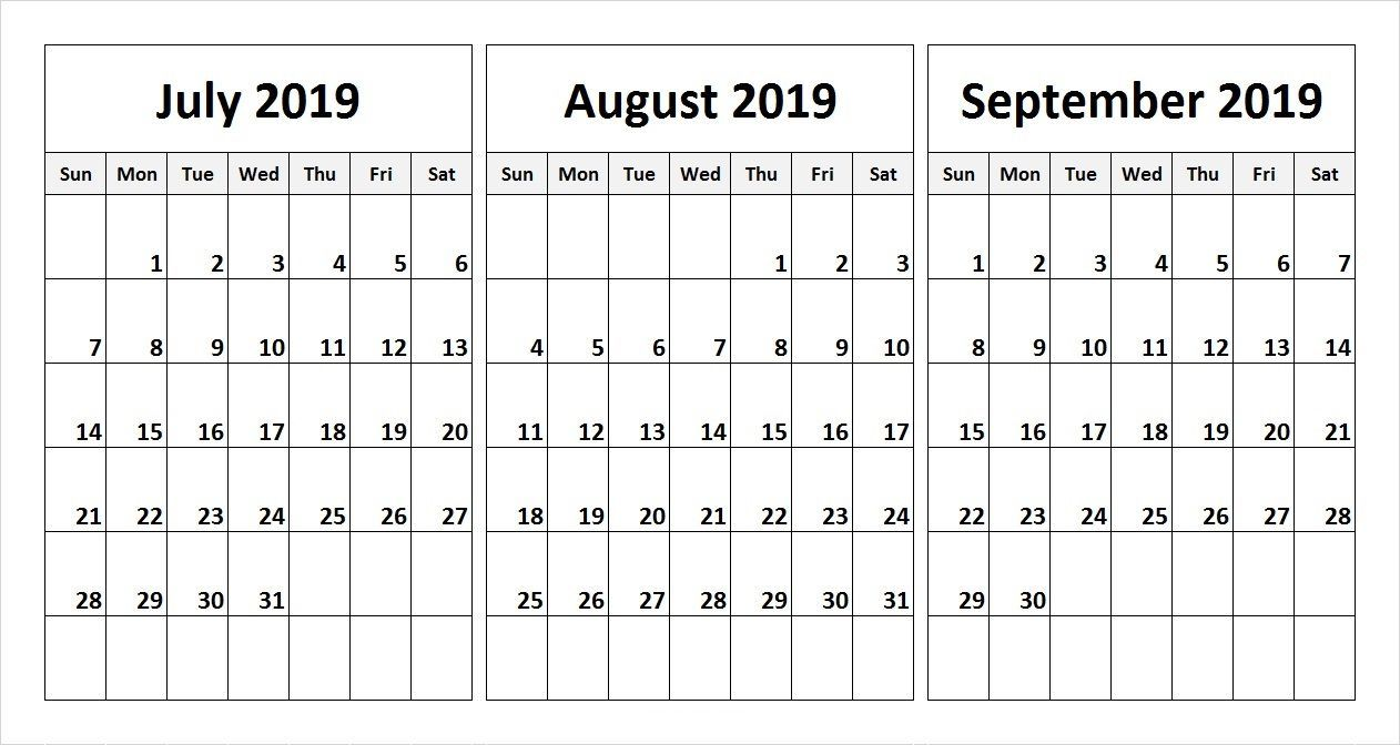 July August September 2019 Calendar In Pdf Word Excel Printable