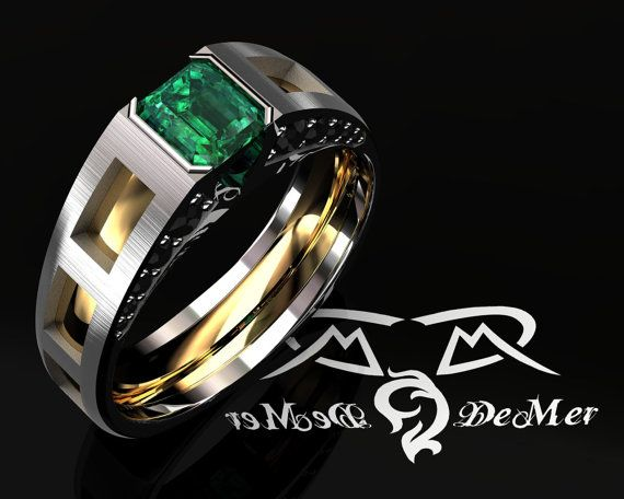 Men S Two Tone Emerald Wedding Mangagement Ring By Fandcgold 5500 00 Cool Rings For Men Rings For Men Wedding Rings For Women
