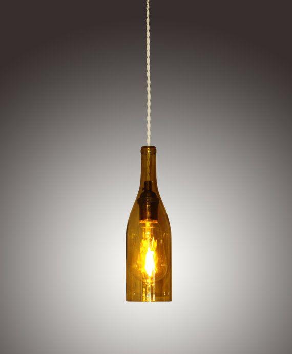 Wine Bottle Pendant Lights Led light amber upcycled wine bottle pendant by belangerlighting led light amber upcycled wine bottle pendant by belangerlighting audiocablefo