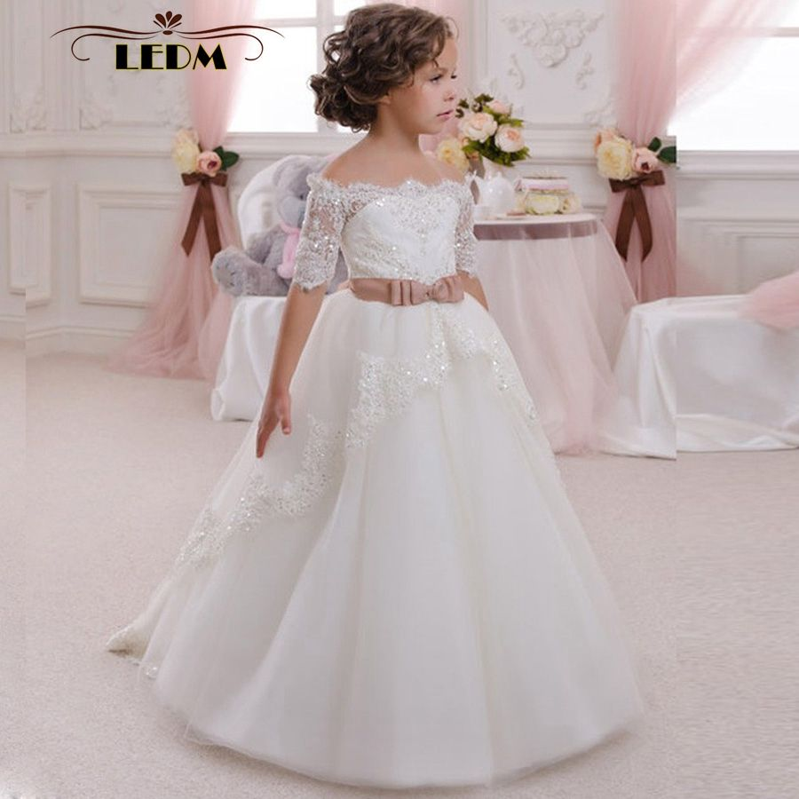 Click to buy white kids evening lace half sleeves with belt ball lovely puffy tulle ball gown flower girl dresses 2018 sequined lace half sleeves girls pageant gowns long kids party dress with bow sashes cheap price izmirmasajfo