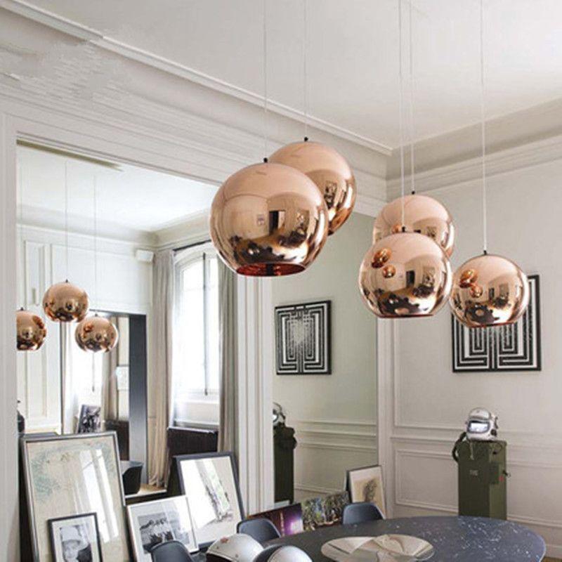 Modern Glass Globe Ball Pendant Lights Copper Shade Pendant Lighting Round Ceiling Hanging Lamp L Copper Pendant Lights Round Pendant Light Globe Pendant Light