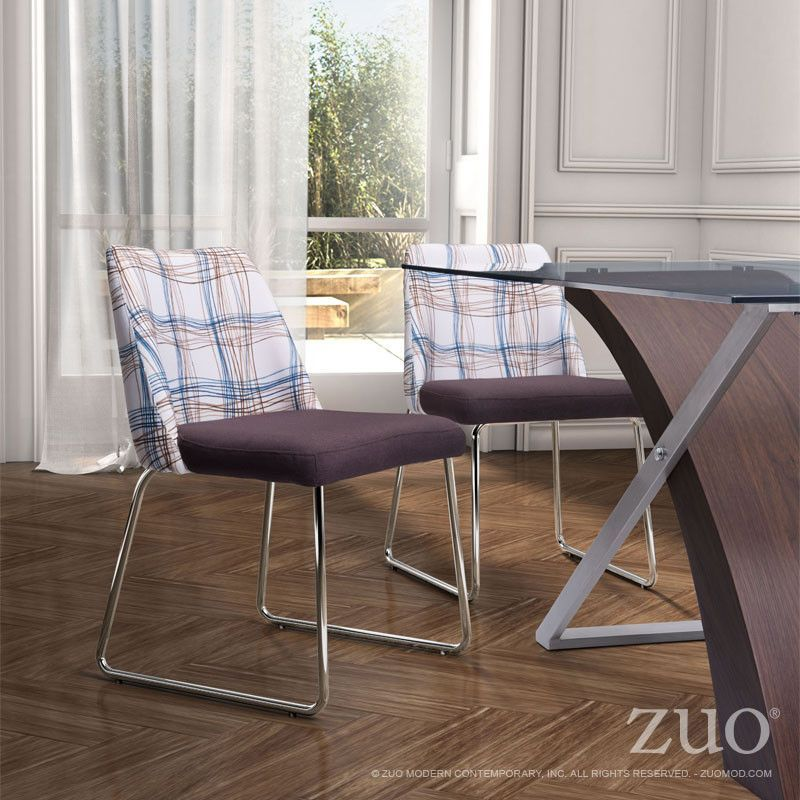 Zuo Rave Dining Chair Line Pattern Brown Dining Chairs