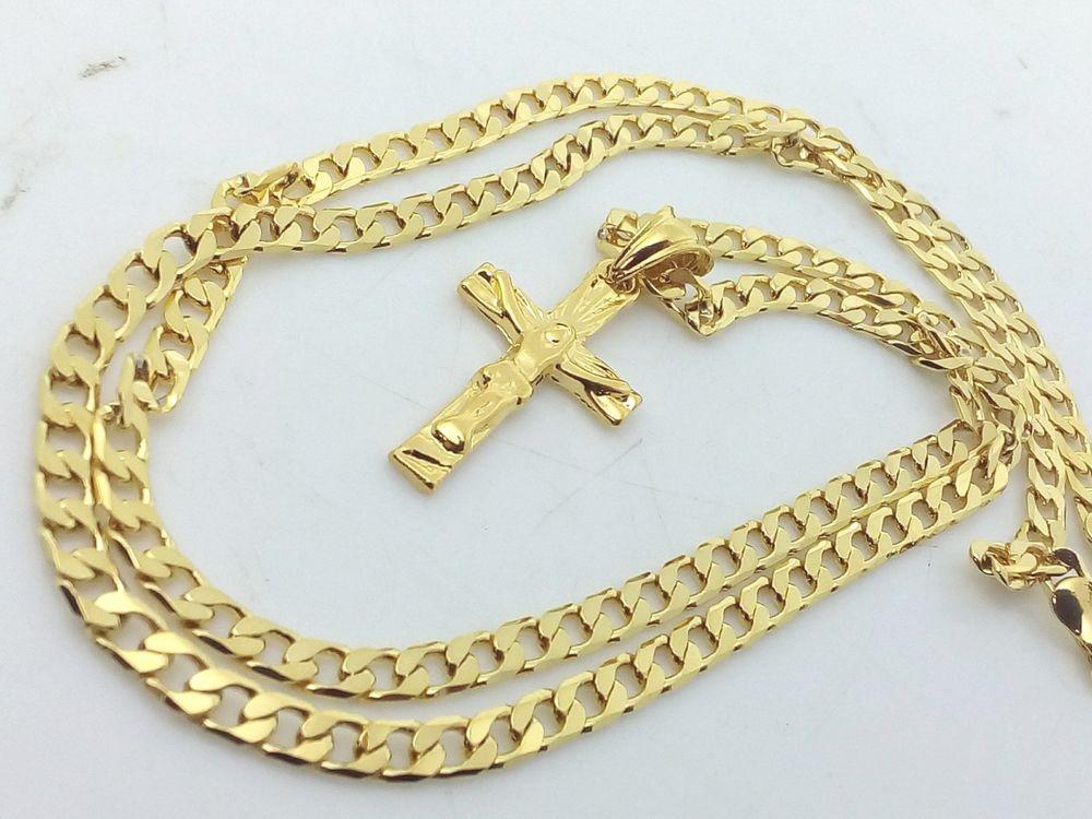 Molto Collana Ciondolo Croce Oro Argento Uomo Donna Crocifisso con  JB07
