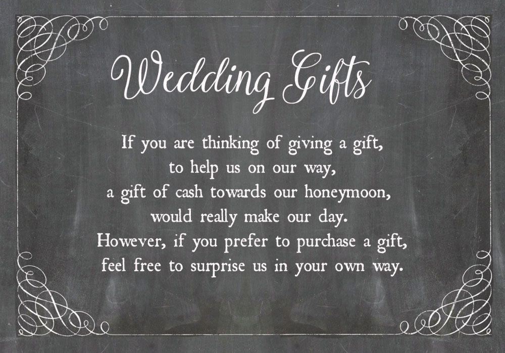 Chalkboard Personalised Wedding Gift Wish Poem Money Card Ask For Cash As A Wedding Gift