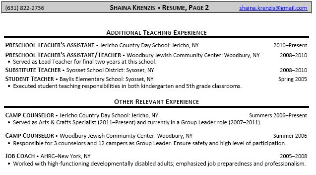 Relevant Coursework In Resume Example -    wwwresumecareer - career overview resume examples