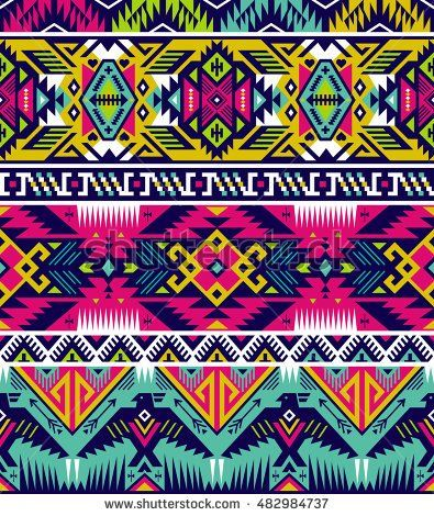 neon colors tribal vector seamless pattern with eagle. aztec ...