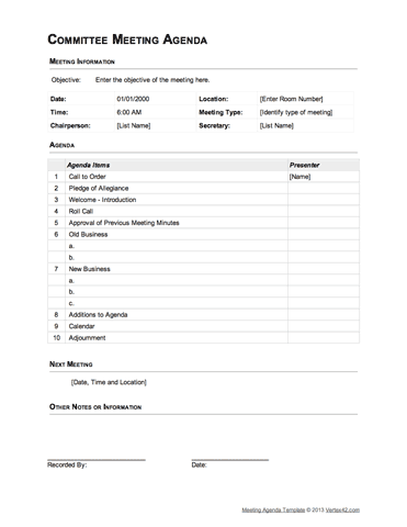 Download The Committee Meeting Agenda  Table Format From Vertex