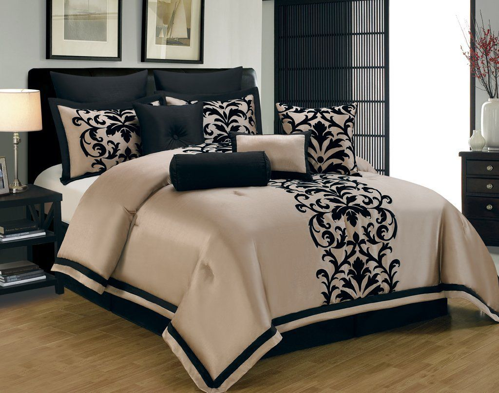 Amazon Com 14 Piece Queen Dawson Black And Gold Bed In A Bag Set