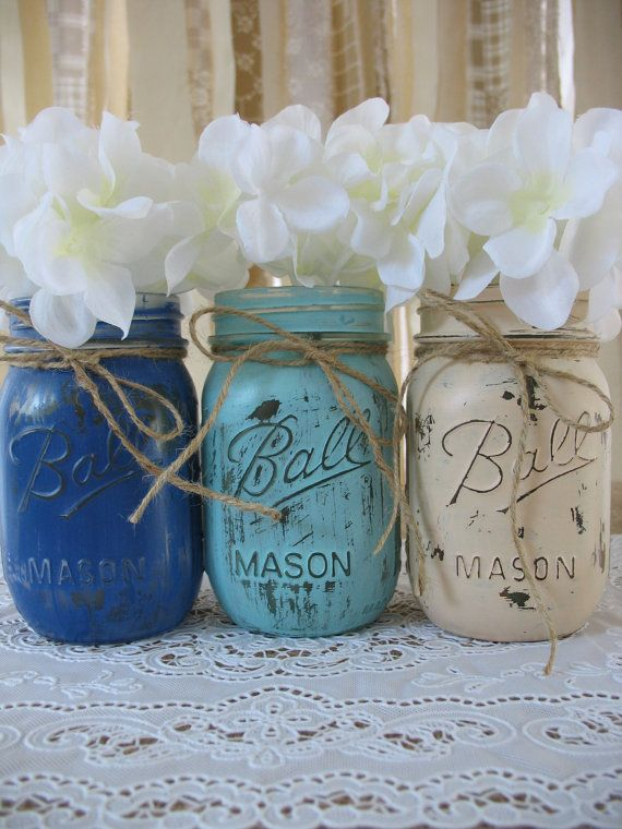 3 Pint Mason Jars, Painted Mason Jars, Rustic Wedding Centerpieces, Baby  Shower Decorations, Dark Blue, Light Blue And Creme Jars