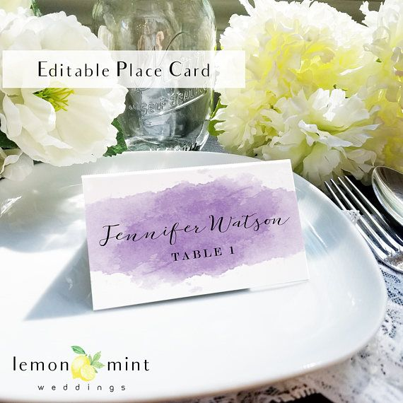 fb26c340690d1 Printable purple watercolor place card, violet escort card ...