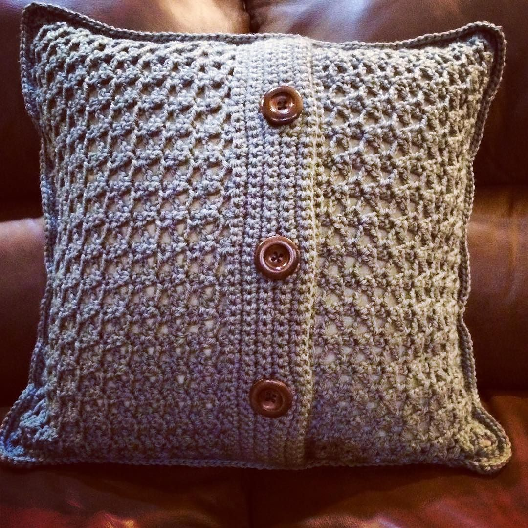 New to the shop crochet pillow cover in steel blue fits an
