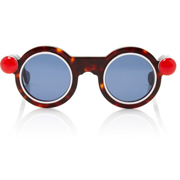91c002a8c Paule Ka Round Sunglasses with Red Button Detail ($410) ❤ liked on Polyvore  featuring accessories, eyewear, sunglasses, black, round frame glasses,  round ...