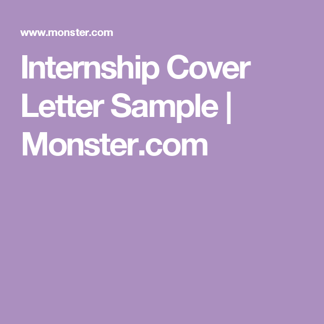 monster cover letter examples