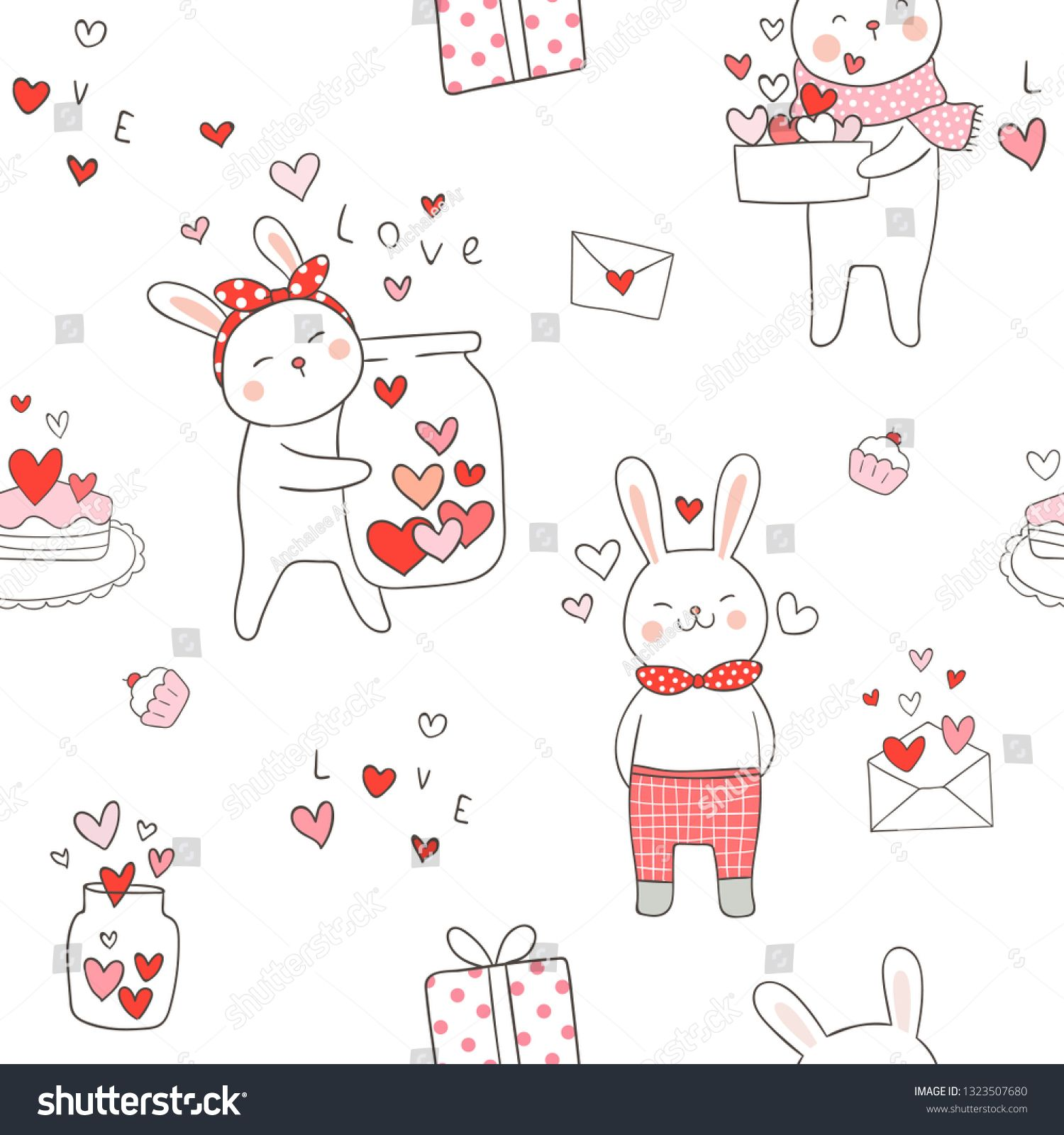 Draw seamless pattern background cute rabbit with red