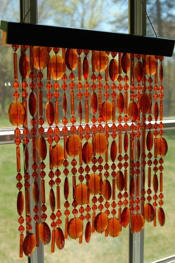 Vintage Amber Beaded Curtain Window Decor Suncatcher Wall