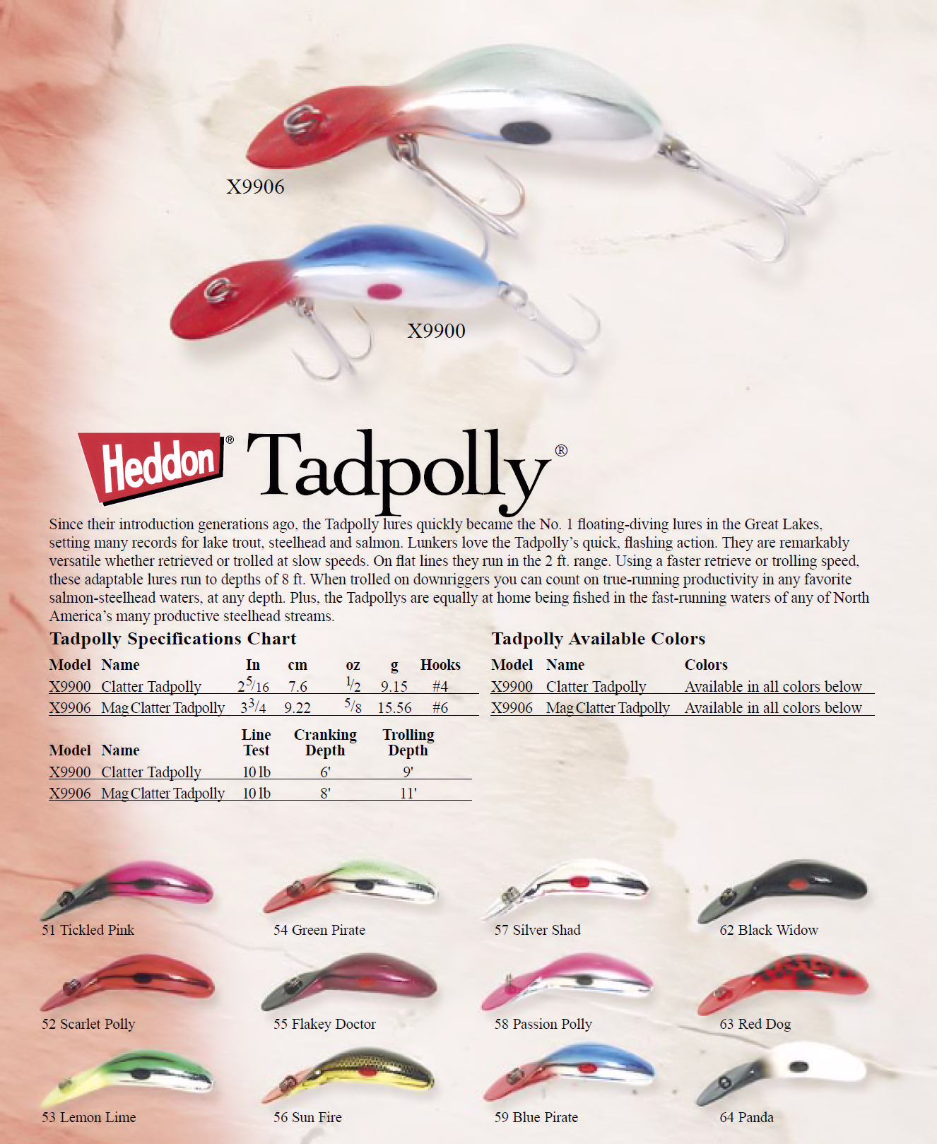 Heddon tadpolly 2005 color chart fishing lure color charts and heddon tadpolly 2005 color chart fishing nvjuhfo Image collections