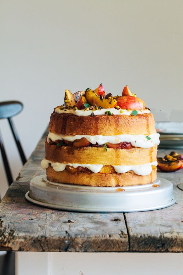 Wonderful, not too sweet summer fruit cake. Soft sponge cake, caramelized nectarines and fresh, light yogurt cream. Heavenly good. P.S. You can also use any other seasonal fruits (Apricots, cherries, peaches...) | http://jernejkitchen.com