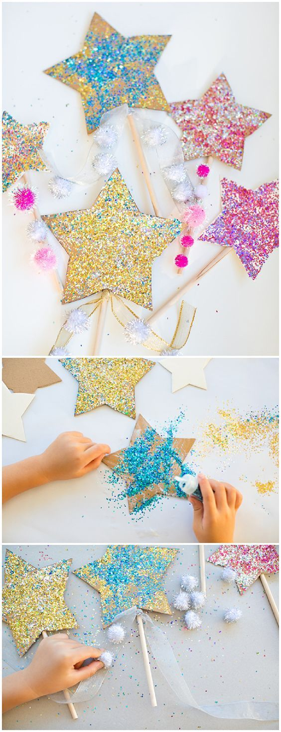 DIY Glitter Star Wands. Recycle cardboard to make these pretty sparkly wands with kids. Fun New Years or party craft.
