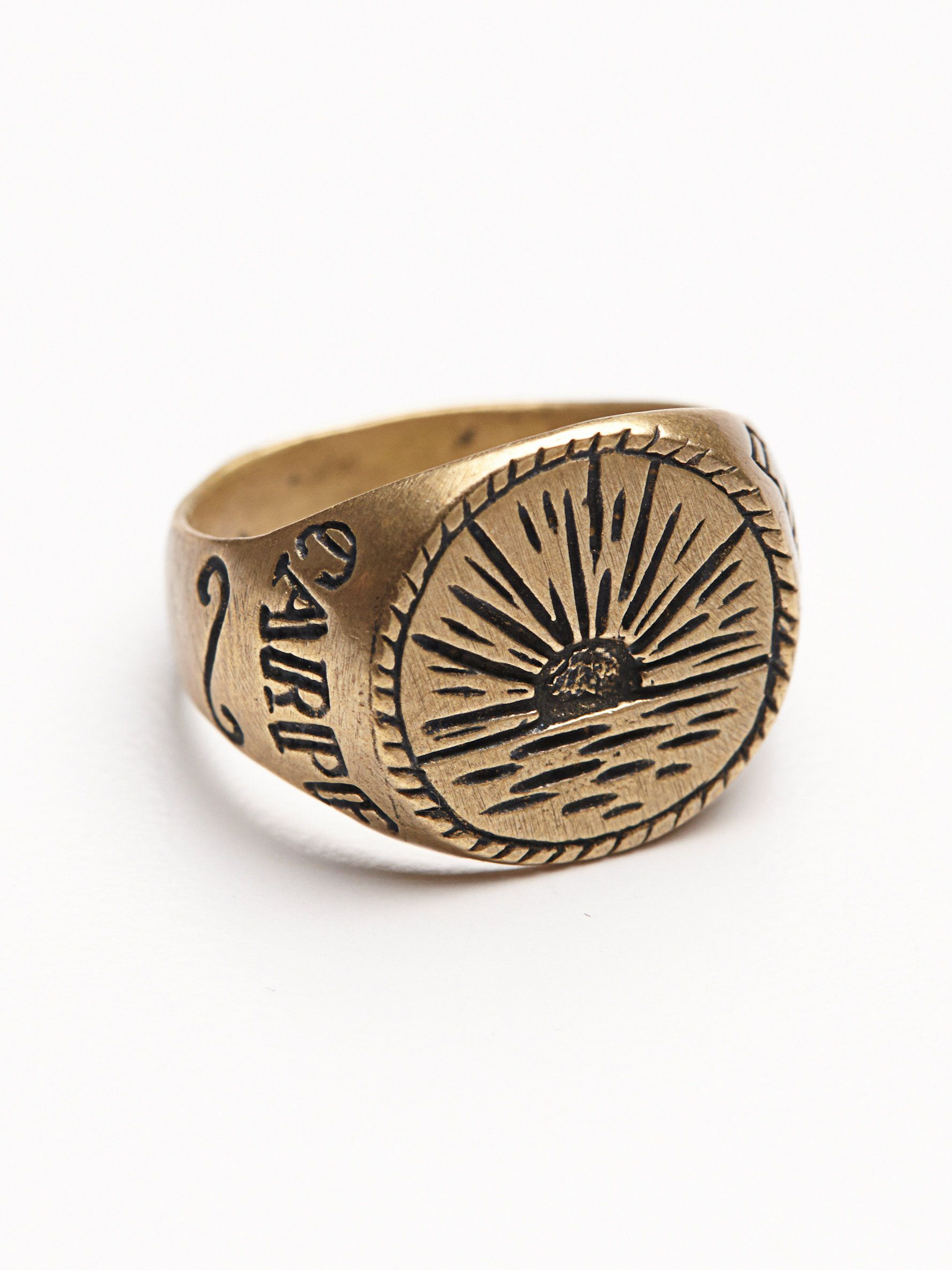 Sunrise Signet Ring | American made brass ring with hand-etched sunrise design.
