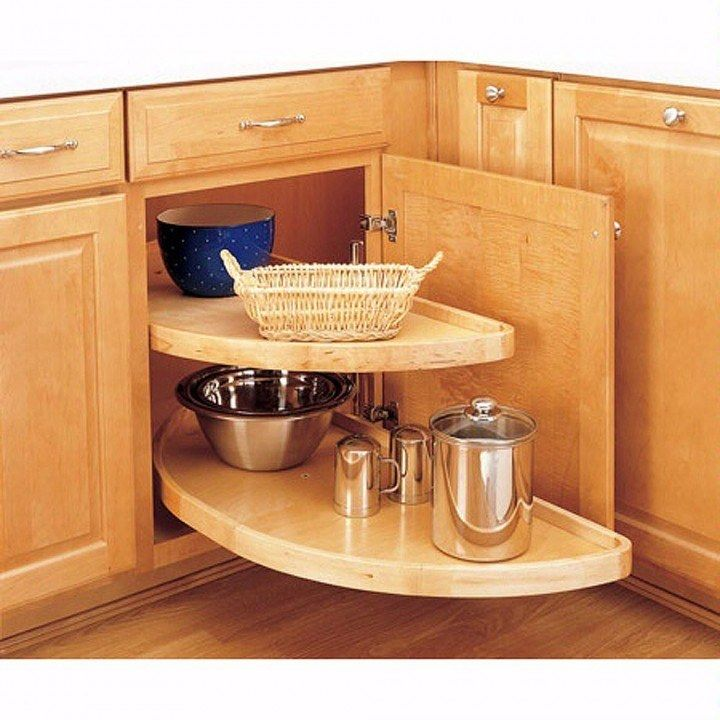 Blind Corner Half Moon Wood 2 Shelf Lazy Susans   This Would Be Really Nice  For The Corner Cabinets.