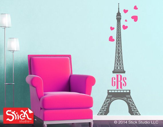 Monogram Eiffel Tower Wall Decal, Monogram Wall Decals, Initials Wall Decal,  Girls Wall Stickers, ...