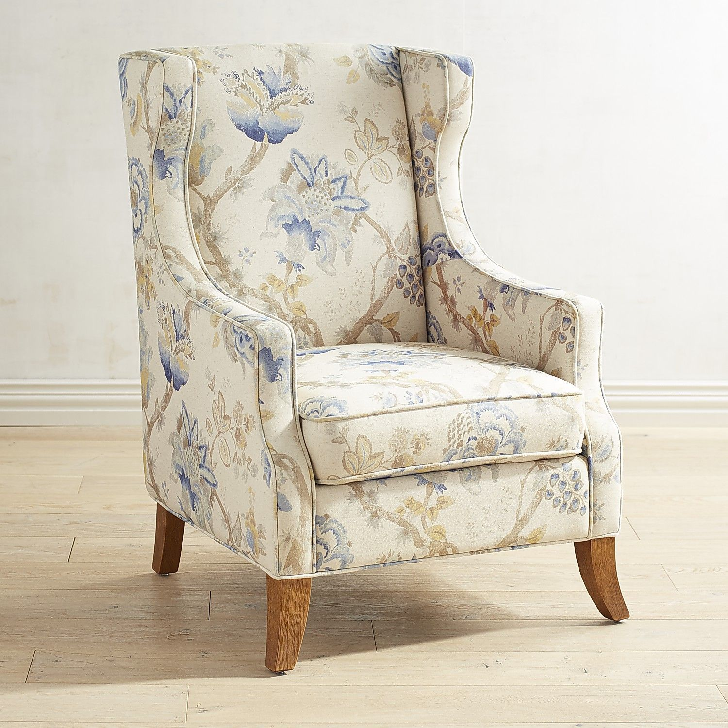 Floral Chairs Alec Blue Floral Wing Chair Products Wing Chair