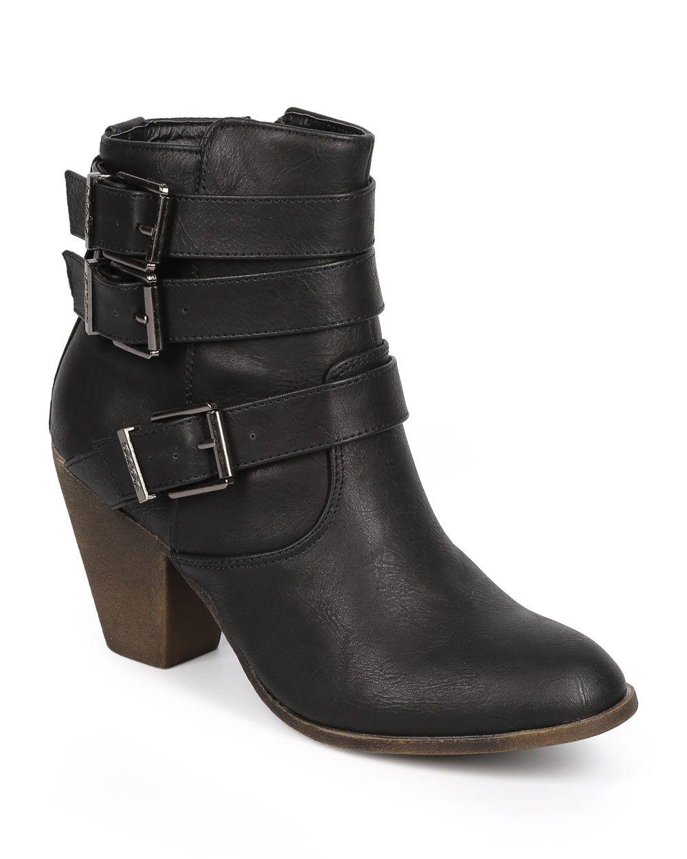 New-Women-DbDk-Finny-1-Leatherette-Almond-Toe-Strappy-Zip-Riding-Bootie-Size