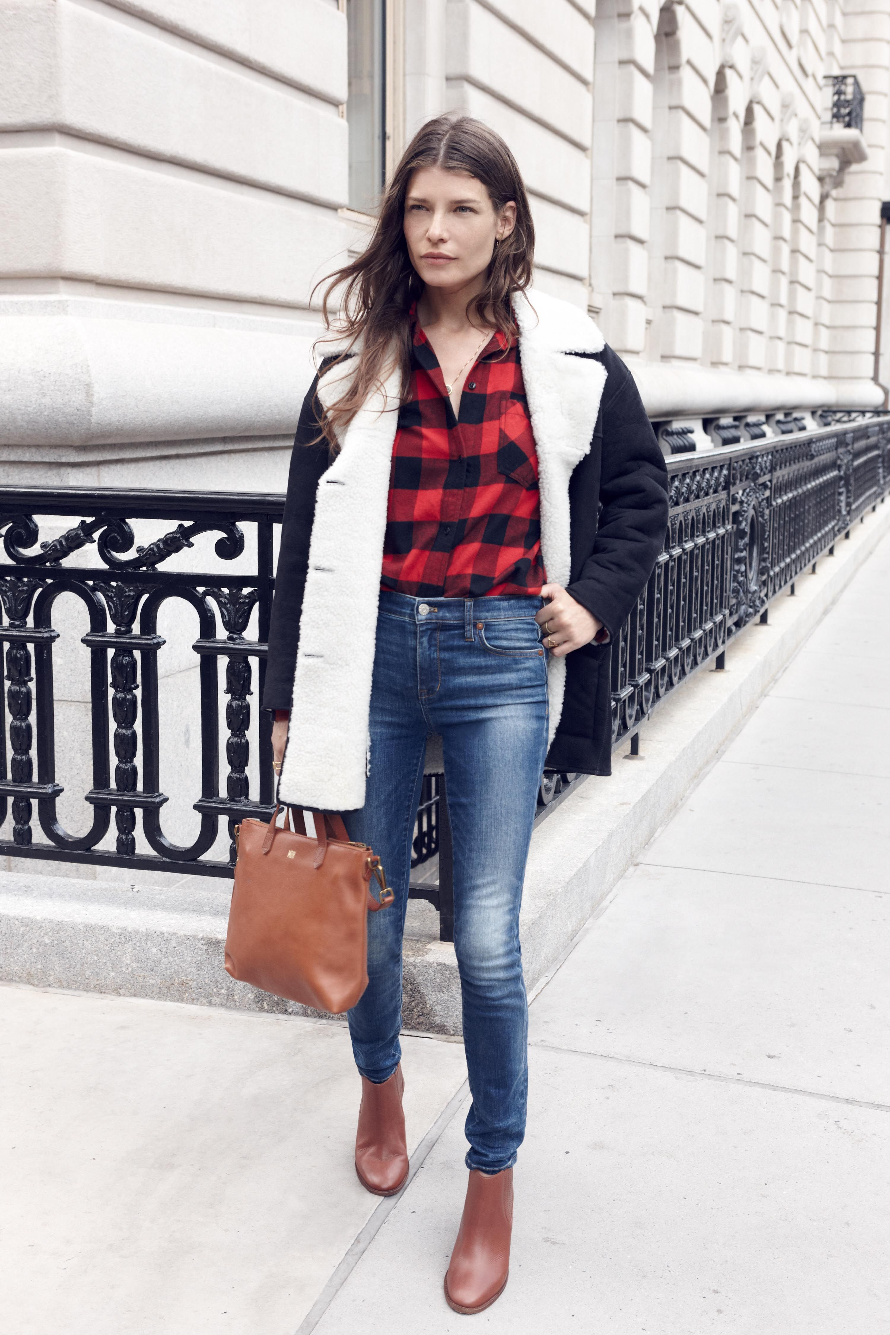 madewell shearling car coat worn with the flannel ex-boyfriend ...