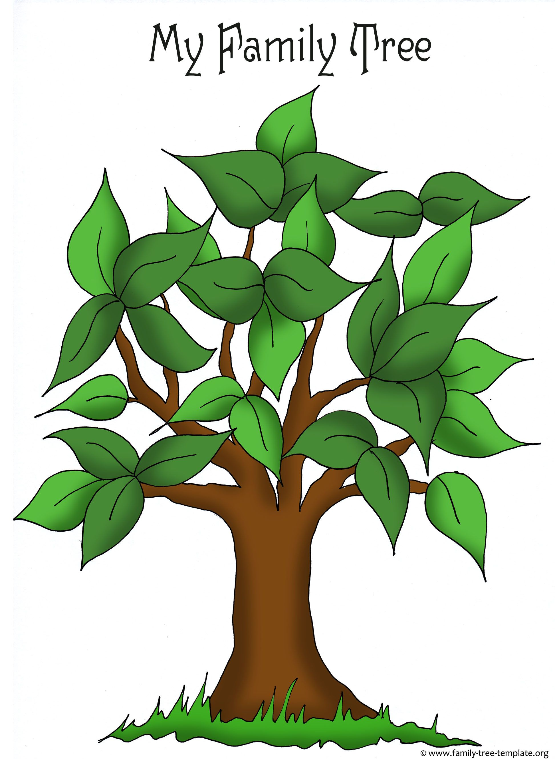 Artistic Apple Tree Template For Free Placement Of Family Members