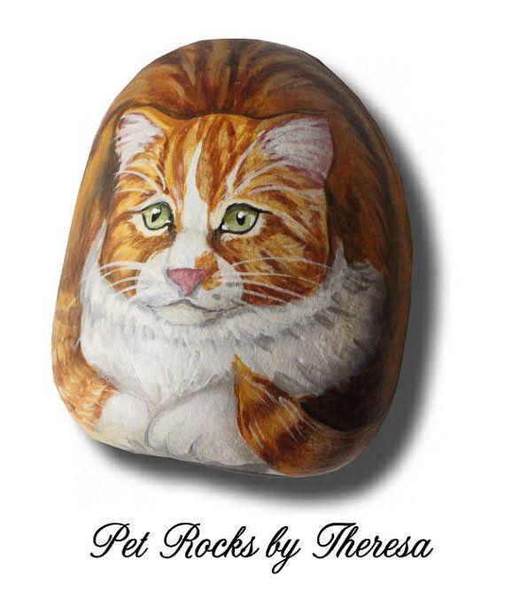 Orange and White Tabby Cat Handpainted Beach Stone