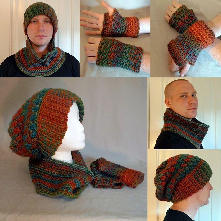 Unisex Set: Slouchy Beanie, Cowl & Fingerless Gloves - Siam by BowsysBoutique http://etsy.me/2fluGf2  #giftforhim #giftset #crochetgift