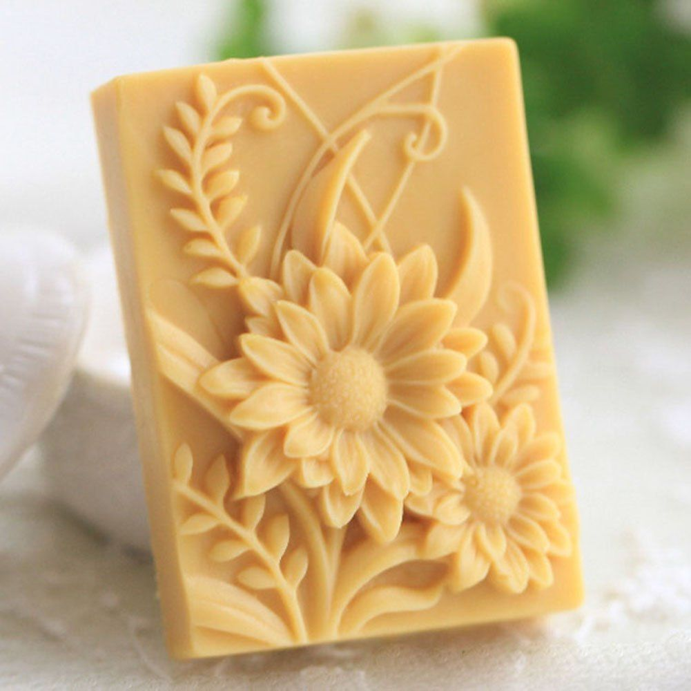 Flower White Silicone Soap Mould Soap Making Molds Diy Craft Art Handmade Flexible Soap Mold