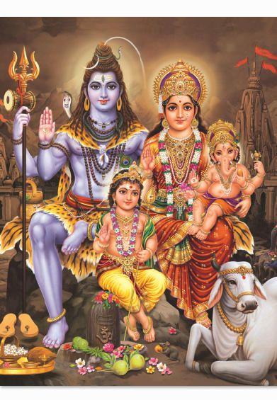 Beautiful Divine Family Shiva Parvati Ganesh Kartikeya God